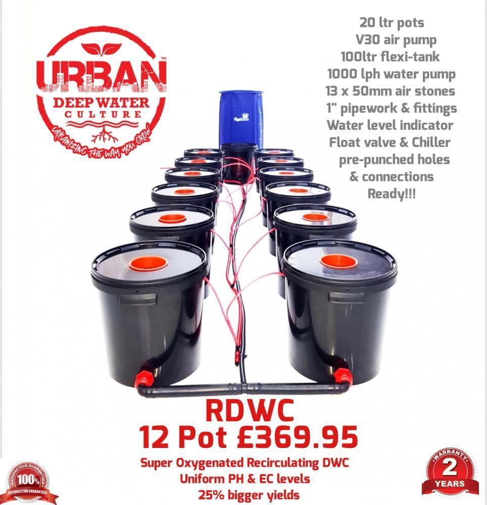 20L 12 Topf System & Flexi für Wachsen Zelt 3 x 1.5 1000W x2 Licht Auto Rdwc Dwc