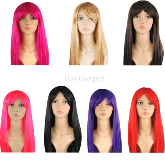 Smiffys Babelicious Wig Long Straight with Fringe Black