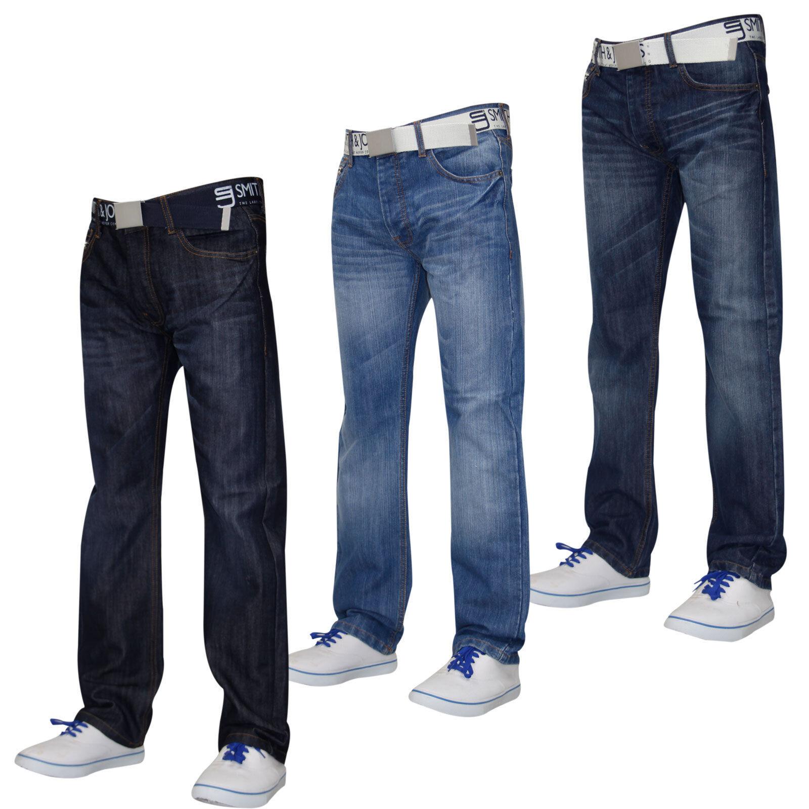 Herren Designer Smith & Jones Jeans Gratis Gürtel Denim Denim Denim Furio Straight Cut Hose     Neuer Markt  5222f7