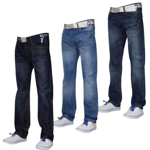 Herren Designer Smith /& Jones Jeans Gratis Gürtel Denim Furio Straight Cut Hose