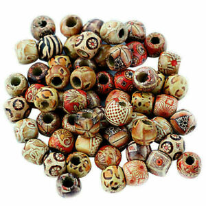 Beads-Ethnic-Patterned-Wood-Wooden-Large-Hole-Mixed-100-pack-DIY-Jewelry-Craft