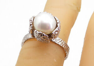 925 Sterling Silver - Freshwater Pearl Sculpted Solitaire Ring Sz 5 - RG5704