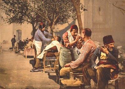 Turkey 1895 CONSTANTINOPLE Vintage Barbershop /& Salon Poster TURKISH BARBERS