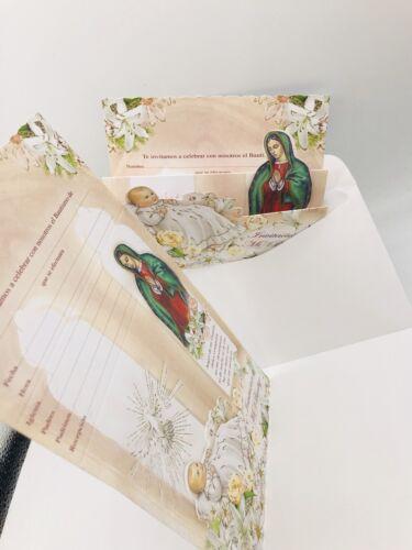 12 baptism Boys /& Girls invitation invitaciones de bautizo en Español con sobres