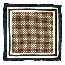 SANTOSTEFANO Handmade Black White Red Gold Silk Pocket Square Handkerchief $150
