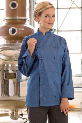 0460C Uncommon Threads Santa Fe chambray blue chef coat XS to 6XL