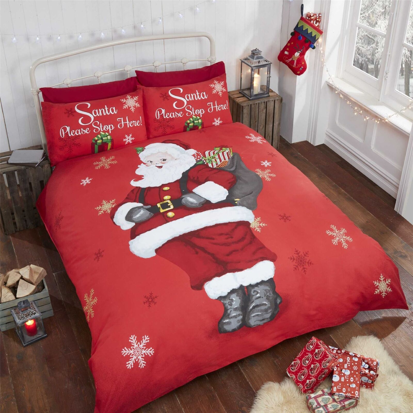CHRISTMAS SANTA CLAUS PLEASE STOP HERE SNOWFLAKES RED GREY KING SIZE DUVET COVER