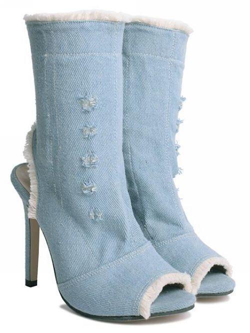 Stivali stivaletti traforati estivi denim jeans 11 cm  pelle sintetica 9394