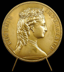 Medaille-Eugenie-de-Montijo-Imperatrice-marquise-d-Ardales-Bovy-1870-refra-medal