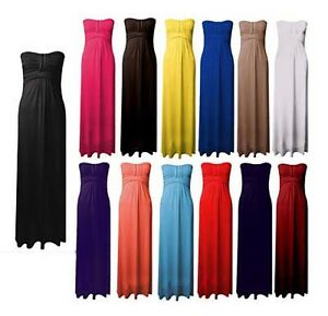 Womens-Ladies-Knot-Front-Strapless-Bandeau-Boobtube-Plus-Size-Maxi-Dress-UK-8-26