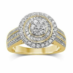 Bevilles Halo Ring with 1.00ct of Diamonds in 9ct Yellow Gold