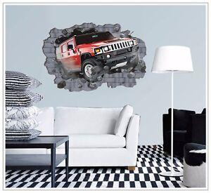 wandtattoo wandsticker 3d auto kinderzimmer jugendzimmer wohnraum junge rennen ebay. Black Bedroom Furniture Sets. Home Design Ideas