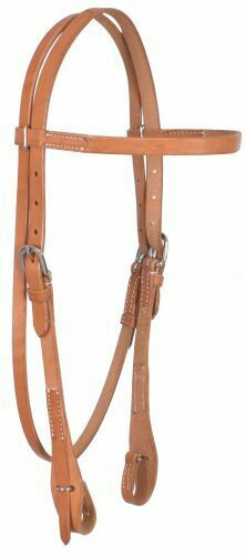 Showman HARNESS LEATHER Browband HEADSTALL Quick Change Bit Loop Stainless Steel