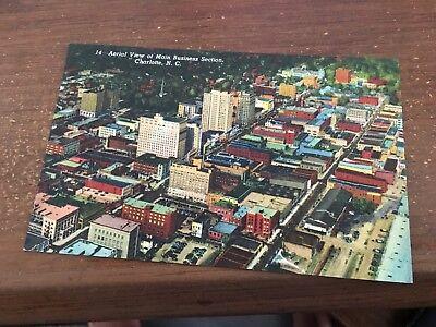 Airplane View of Main Business Section Vintage Linen Postcard N.C. Unused Lenoir