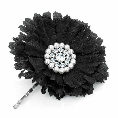 Black Flower Crystal /& Pearl Hair Grip Slides Pins Accessories UK Womens Girls