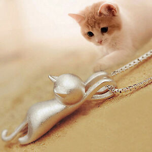 Fashion-Women-925-Sterling-Silver-Cat-Chain-Pendant-Necklace-Charm-Jewelry-GD