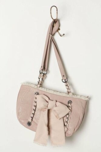Albright Anthropologie Nwt de cuero Miss Purse Bolso rosado Satchel con cadena Bow 55rxHOqBw