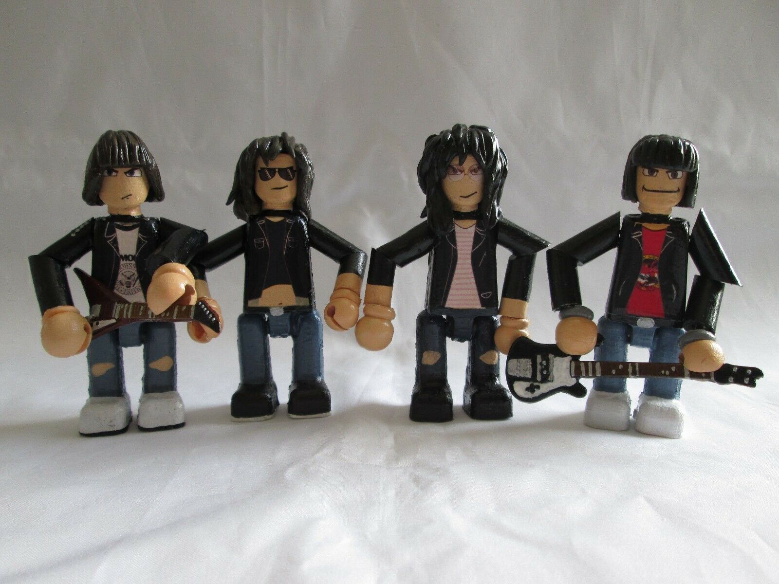 The Ramones 3 inch minifigure set - 4 x handmade OOAK jointed figures