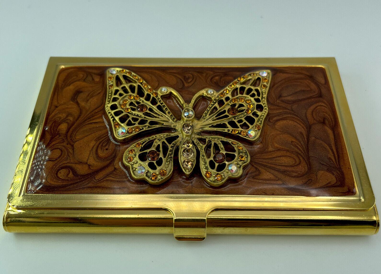 BUSINESS CARD HOLDER by Spring Street-NEW(open Box) Swarovski Crystals Gold Pltd