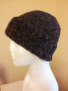 Beanie Turned back Rib Hat Hand Knit in Ireland of Aran 100% Donegal ... 6fb8e999267