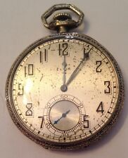Antique Elgin 17-jewel Men's Pocket Watch in 14k white gold-filled case