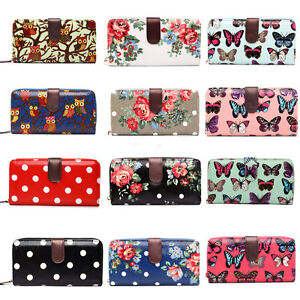 Ladies-Designer-Butterfly-Owl-Cupcake-Flowers-Oilcloth-Bifold-Wallet-Purse-Bag