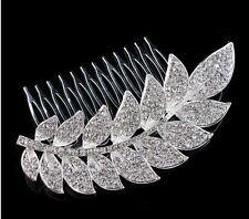 Elegante nupcial boda dama de honor Diamantes de Imitación de Cristal Hoja Casco Peine de Cabello Reino Unido