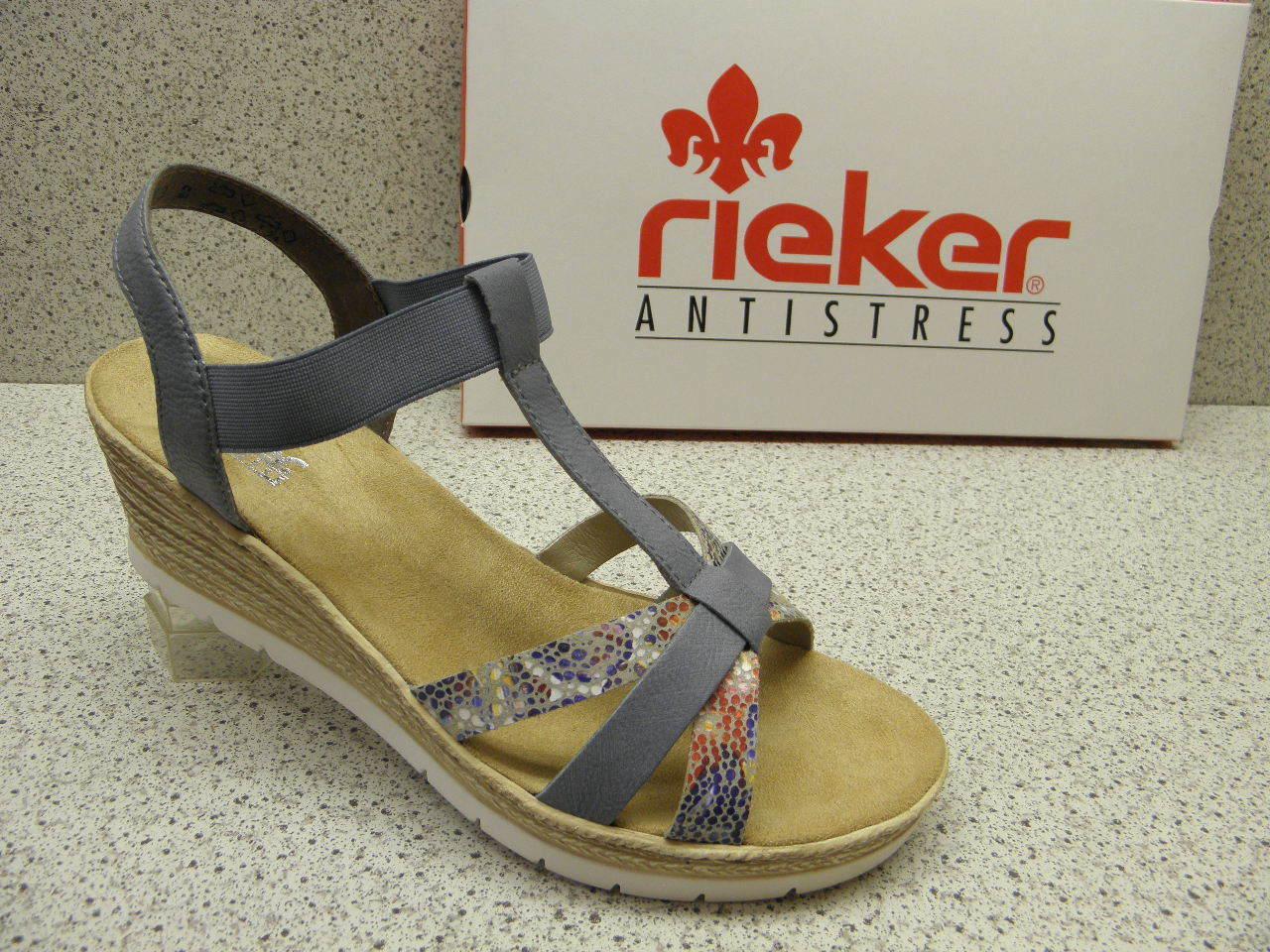 rieker ® ROTuziert  Top Preis Fashion Mode Keil Sandaleette (R462)