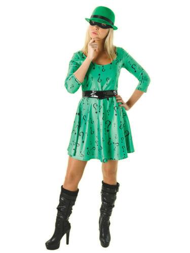 Adult Ladies The Riddler Fancy Dress Costume Batman Villain DC Classic New Green
