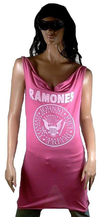 AMPLIFIED Offi RAMONES Hey Ho Let's Go Logo Rock Star Dress Kleid Rosa M 38 40
