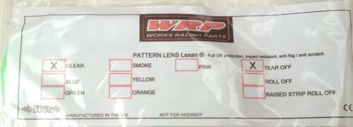 WRP Tear Off Lens Smith Speed Goggles Motocross Quad Clear