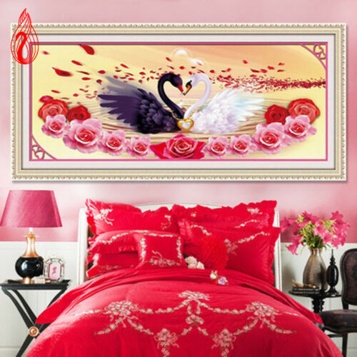 DIY 5D Diamonds Embroidery Love is better than gold Swans Round Diamond Painting