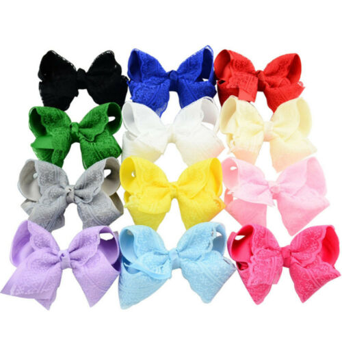 1 Piece Cute Bay Girls Crochet Lace Hair Bows Hair Pin Clip Headwear Accessories