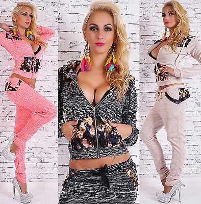 2pc Tracksuit Jogging Sweatshirt Pants Jogging Hoodie Flower Pattern Suit HOT