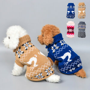 Pet-Cat-Dog-Knitted-Jumper-Winter-Sweater-Warm-Coat-Jacket-Puppy-Vest-Clothes-US
