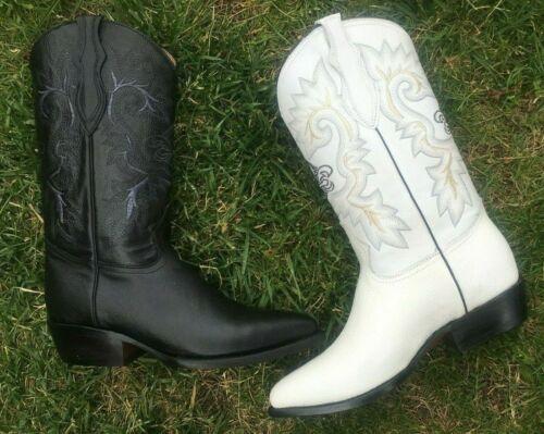 MEN/'S BOTA VAQUERA COWBOY BLACK BOOTS GENUINE LEATHER WESTERN J TOE  WHITE BLACK
