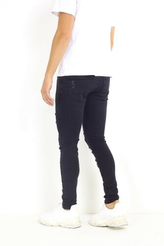 Men's Multi Ripped Destressed Skinny Jeans Charcoal