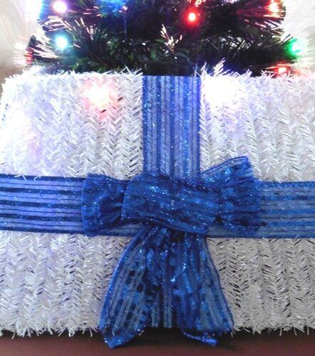 Arbre de Noël Jupe-blanc Guirlandes avec nœud bleu 50 cm x 32 cm environ