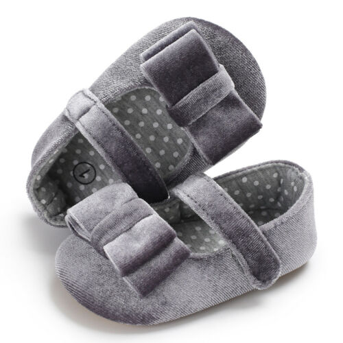 Newborn Baby Girl Pram Shoes Mary Janes Pre Walker Rubber Soles Dress Shoes 0-18