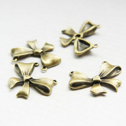 10pcs Antique Brass Base Metal Link-Charm-Pendant Bow 30x22mm 18102Z-H-307B