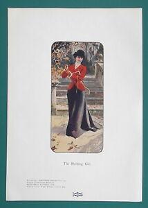 HUNTING-GIRL-Red-Jacket-Black-SKirt-2-Two-1904-COLOR-Art-Nouveu-Era-Prints