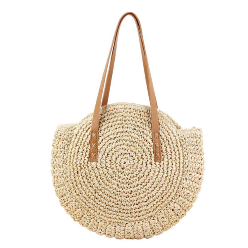 Women Bohemian Woven Handbag Straw Rattan Wicker Round Crossbody Beach Bag UK