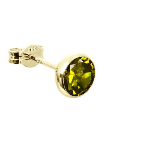 Single Ohrstecker Kelch Zirkonia grün 6,7mm 333er Gelbgold Damen Herren 7725