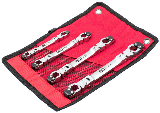 Offener Ringschlüssel Satz 4tg Bremsleitungsschlüssel Set Ratsche Funktion offen