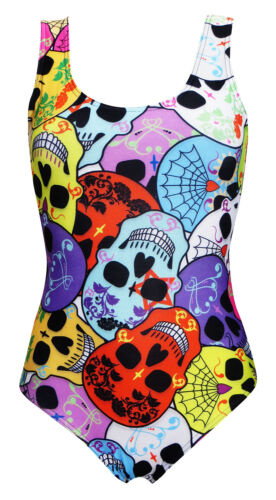 Cute Gothic Multi Sugar Candy Floral  Skulls Web Swimsuit Bodysuit Swimwear
