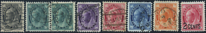 Canada-66-70-72-87-used-F-VF-VF-1897-1898-Queen-Victoria-Maple-Leaf-Part-Set