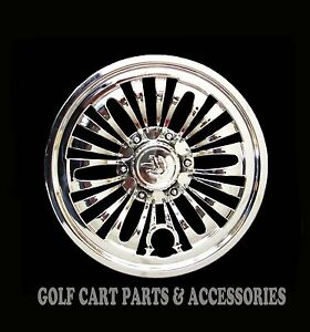Image is loading 4-CHROME-8-034-Golf-Cart-Hub-Caps- 46fff622b58f