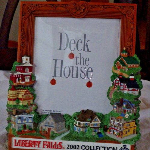LIBERTY FALL 2002 5 X 6 PICTURE FRAME DECK THE HOUSE ~ CHRISTMAS VILLAGE