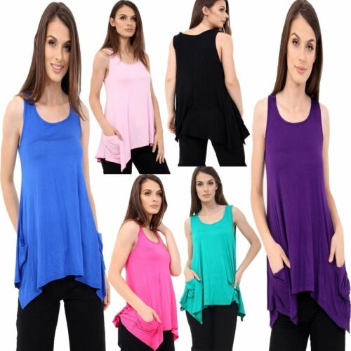 New Women/'s Plain Hanky Hem Flared Top Ladies Sleeveless 2 Pocket Tunic Vest Top