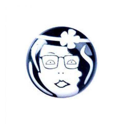 TrimitsQuirky Art Deco Retro Face Button 36 lignes//23mm Black and White